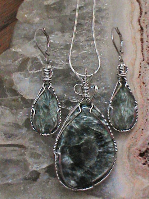 Seraphanite Pendant and Earring Set