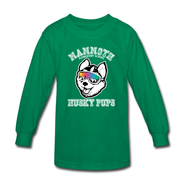 Kids' Long Sleeve Husky Pup Tshirt - kelly green
