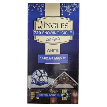 Jingles 720 LED White Snowing Icicle Lights