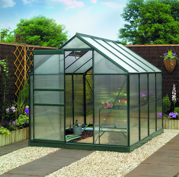 Gardman Aluminium Frame Greenhouse with base & Polycarbonate Sheets - DeWaldens Garden Centre
