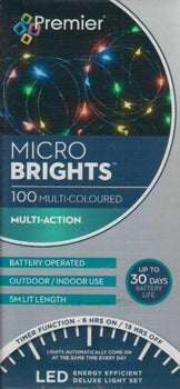 Premier 100 Battery Operated Lights Multi-Colour - MicroBrights - DeWaldens Garden Centre