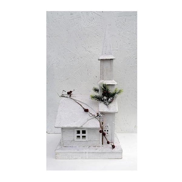 'Heaven Sends' Wooden White Wooden Church With LEDs - DeWaldens Garden Centre