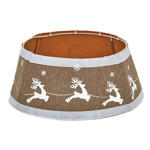 Premier 60cm Gold Drum Tree Skirt Santa Sleigh Design - DeWaldens Garden Centre