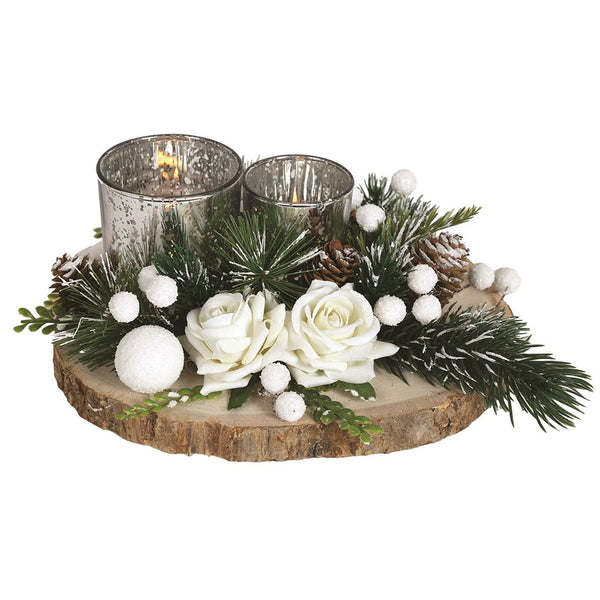 Straits Festive Candle Holder White - DeWaldens Garden Centre