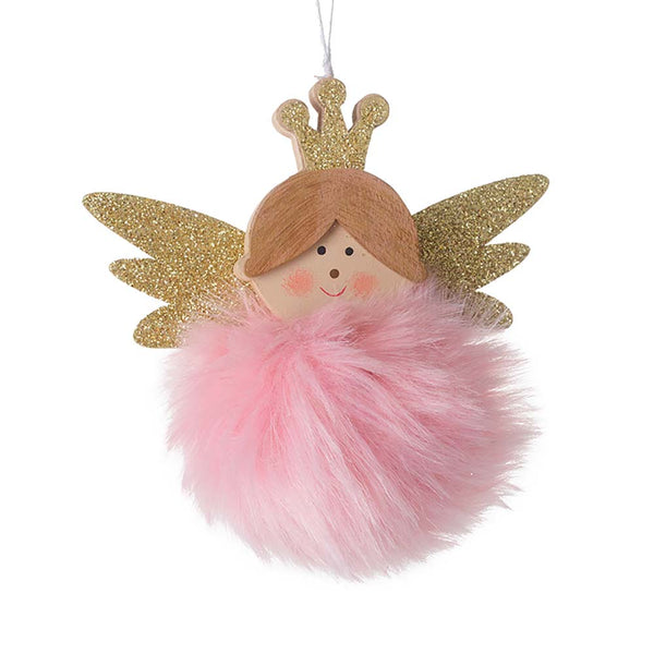 'Heaven Sends' Wooden Angel With Pink Fur Snowball