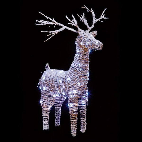 Premier Rattan LED Reindeer With Snow | 83 cm | Warm White | Indoor Use Only | DeWaldens Garden Centre