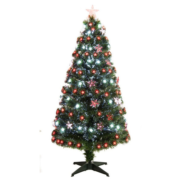 Festive Red / White Fibre Optic Tree (Various Sizes) - DeWaldens Garden Centre