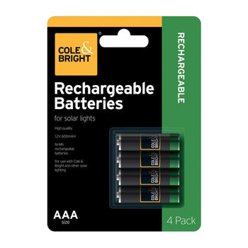 Cole & Bright AA Ni-Mhz Rechargable Batteries 4 Pack - DeWaldens Garden Centre