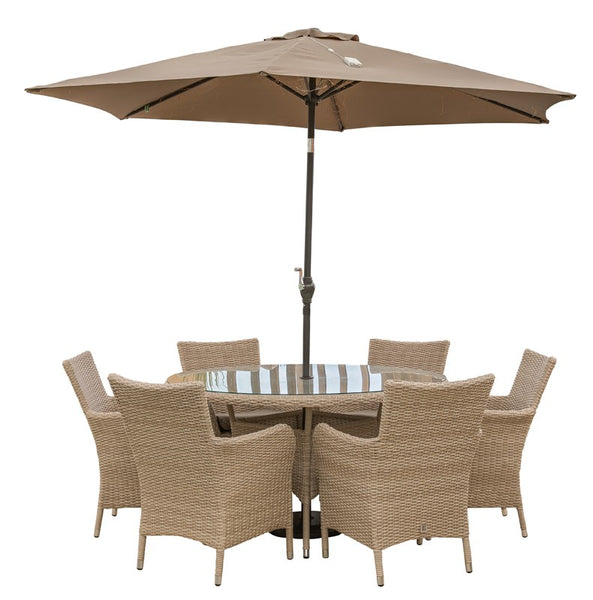 Monaco 6 Seat Dining Set With Soleil Parasol