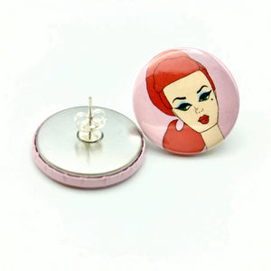 Barbie Button Stud Earrings