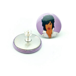 Prince Purple Rain Button Stud Earrings