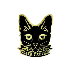 Black Cat Club Enamel Pin Brooch