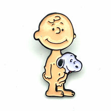 Load image into Gallery viewer, Wizardskull Toon Boner Charlie and Snoopy Enamel Pin