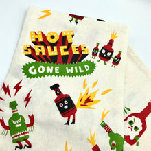 Load image into Gallery viewer, Hot Sauces Gone Wild Cotton Tea Towel