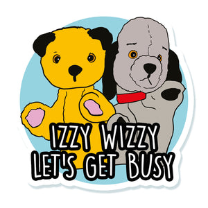 Sooty And Sweep Izzy Wizzy Let's Get Busy Vinyl Sticker