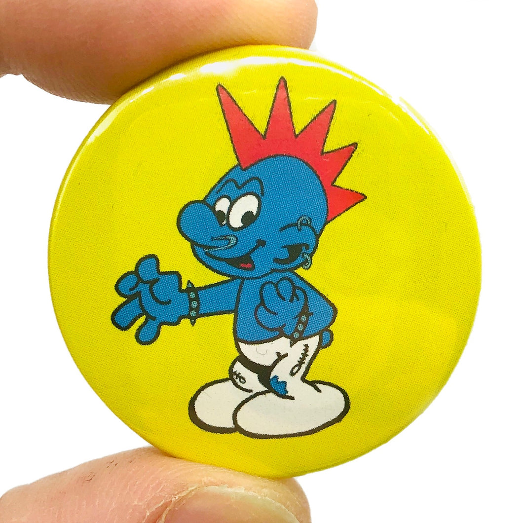 Punk Rock Smurf Button Pin Badge