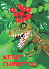 Load image into Gallery viewer, Dinosaur Christmas Card