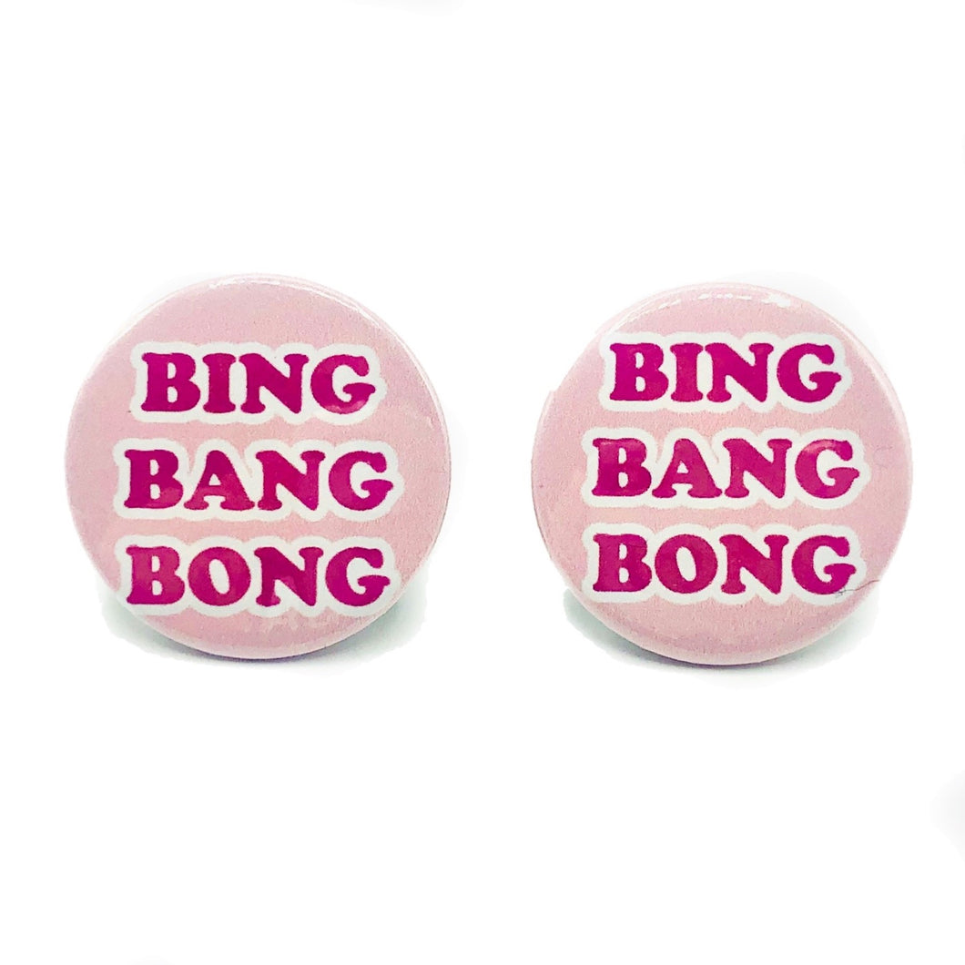 Bing Bang Bong Button Stud Earrings