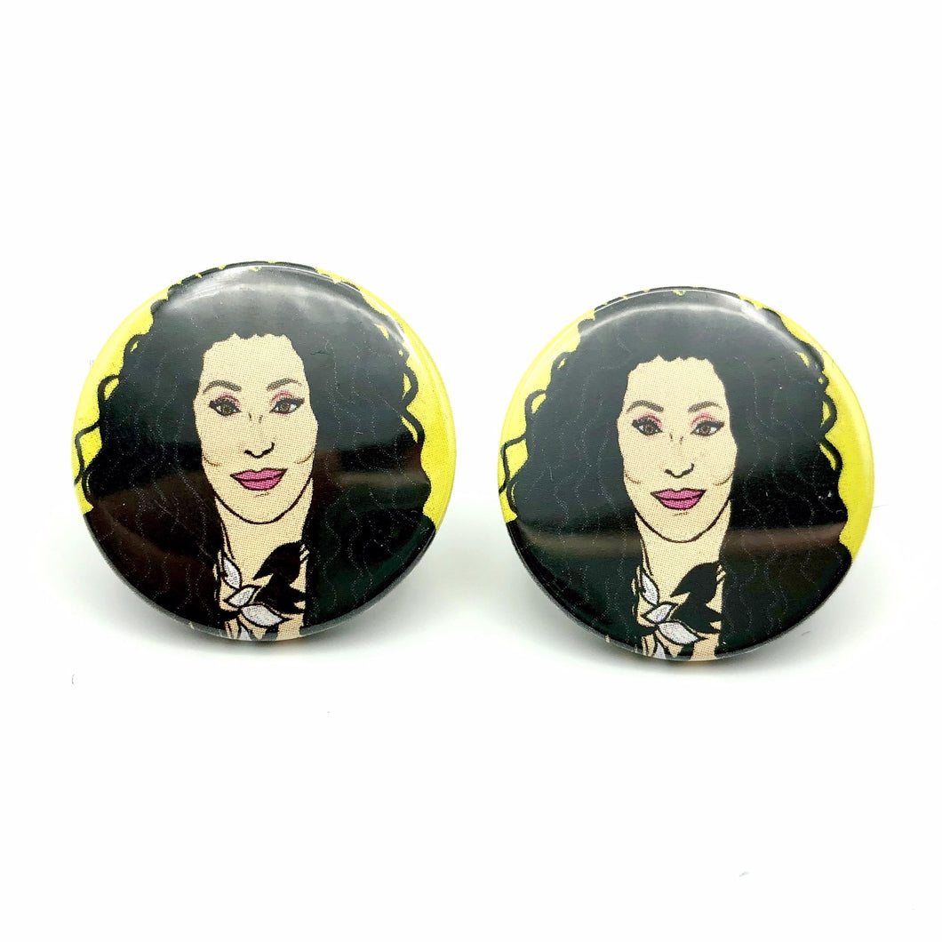 1980s Stylee Cher Button Stud Earrings