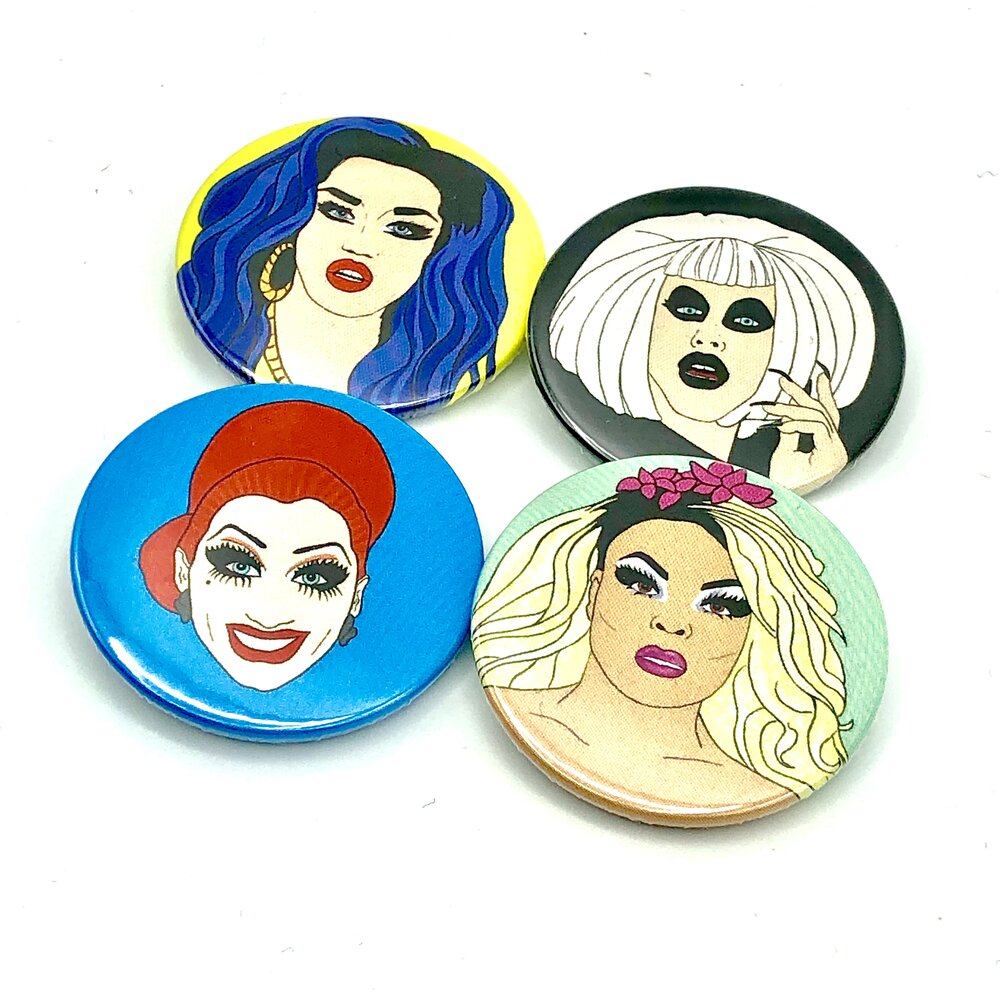 Our Favourite Queens from Drag Race Button Pin Badge Set