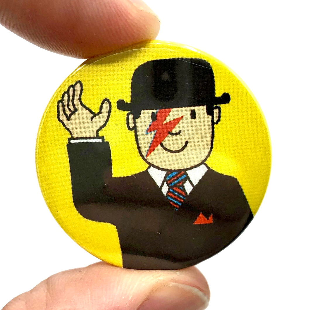 Mr Benn Loves Bowie Button Pin Badge