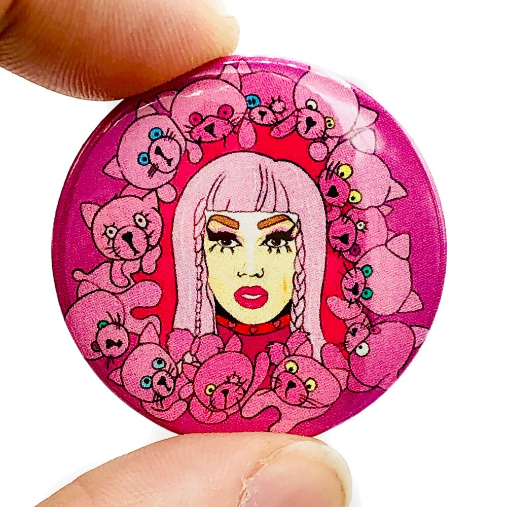 Pink Scaredy kat Drag Button Pin Badge