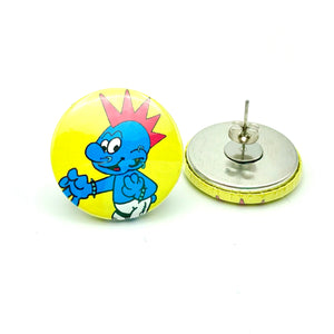 Punk Smurf Button Stud Earrings