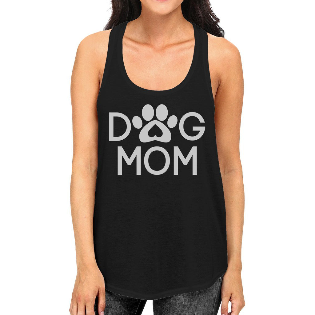 Dog Mom Women's Black Cute Dog Paw Graphic Tank Top for Dog Lovers - Fluffy Palace