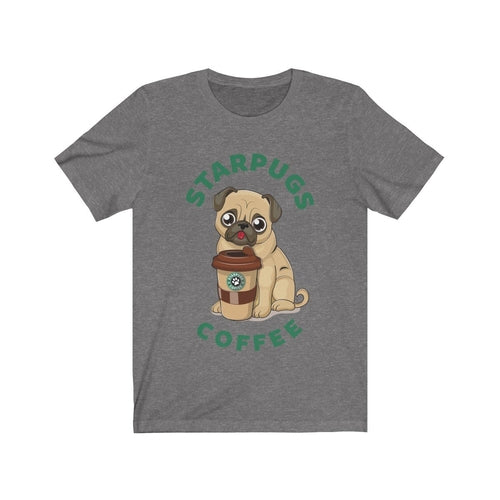 Pug loves coffee Dogs Lover Short Sleeve Tee - Fluffy Palace