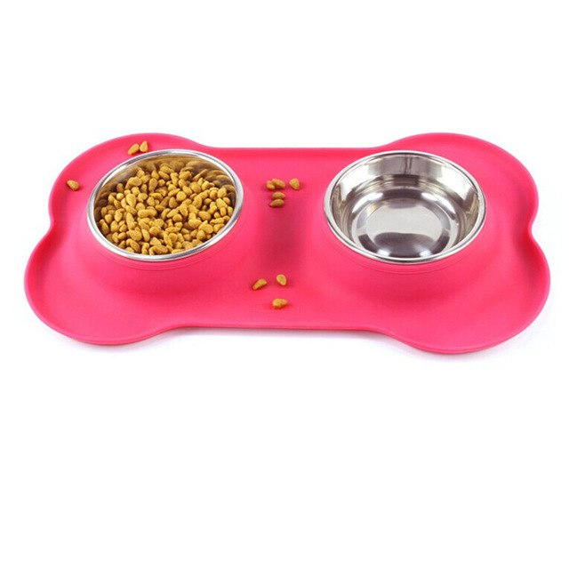 Double Dog Bowls Stainless Steel Bone Shape Food - Fluffy Palace