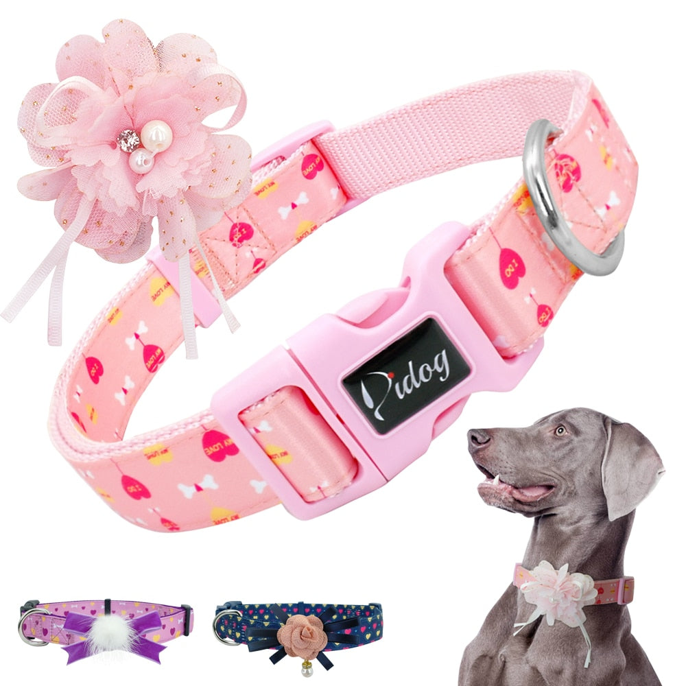 Adjustable Nylon Dog collar with BowTie - Fluffy Palace