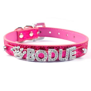 Personalized  Leather Dog Collar with Jewels - Fluffy Palace
