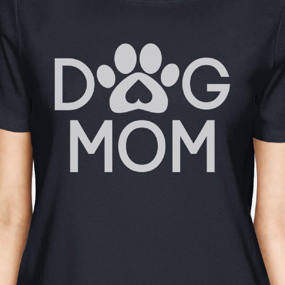 Dog Mom Womens Navy Cute Graphic Design T-Shirt Gift for Dog Lovers - Fluffy Palace