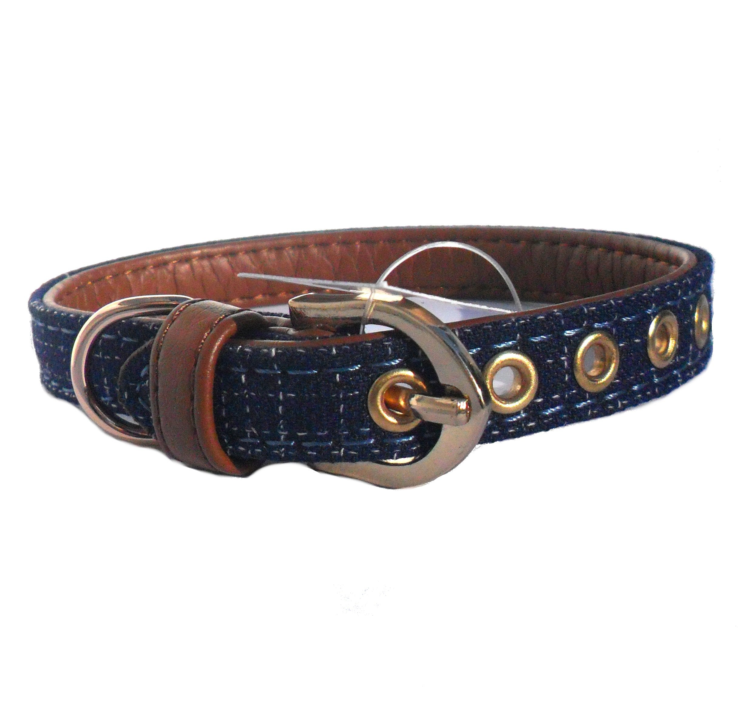 Blue Fabric & Brown Faux Leather Collar - Fluffy Palace