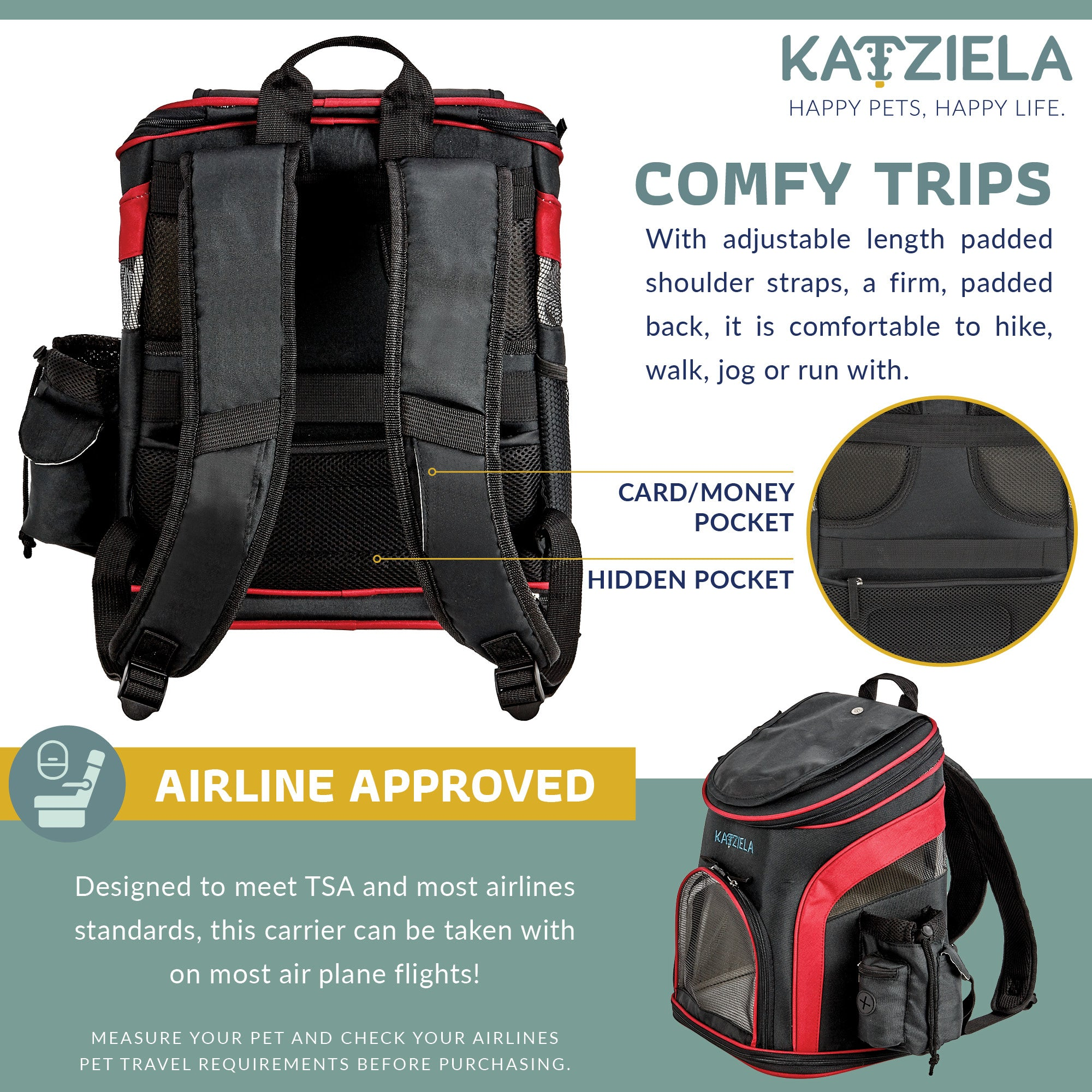 Katziela  Airline Approved Backpack for Pets - Fluffy Palace