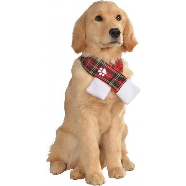 Plaid Scarf Pet Christmas Costume - Fluffy Palace