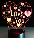 Lampe 3D coeur I Love You