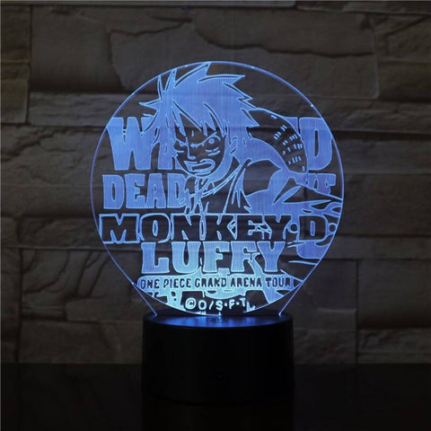 Lampe 3D One Piece Monkey D Luffy bleu