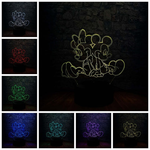 Lampe 3D Mickey et Minnie