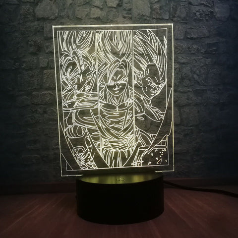 Lampe 3D Dragon Ball Z Goku x Vegeta jaune