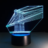 Lampe 3D golden bridge bleu