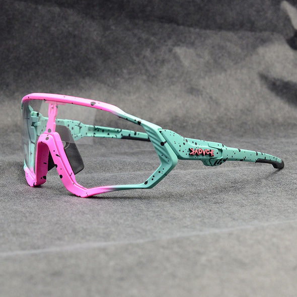 pink and green cycling sunglasses