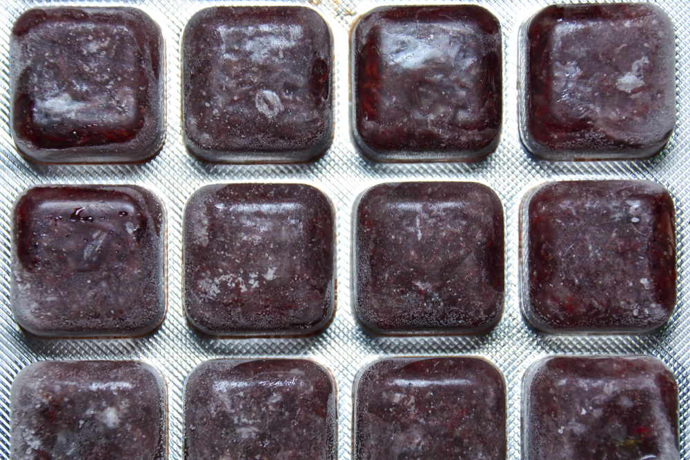 frozen bloodworms packaged in cubes