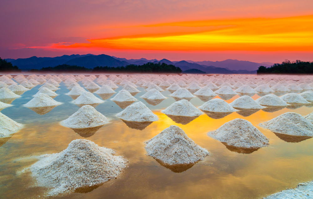 Sea salt farm at sunset