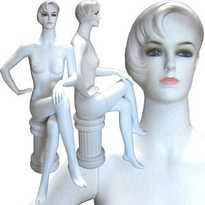 Female Molded Hair Sitting Mannequin With Pedestal-Lucy