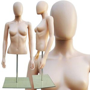 Plastic Half-Body Female Upper Torso Form w/ Removable Head - DI-FT-106