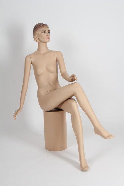 Female Molded Hair Sitting Mannequin - Lucille
