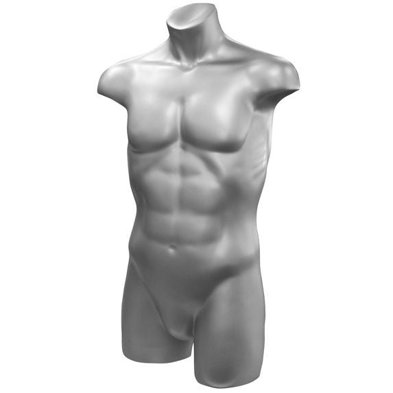 Silver Freestanding Athletic Male Torso Mannequin - DI-MT-104