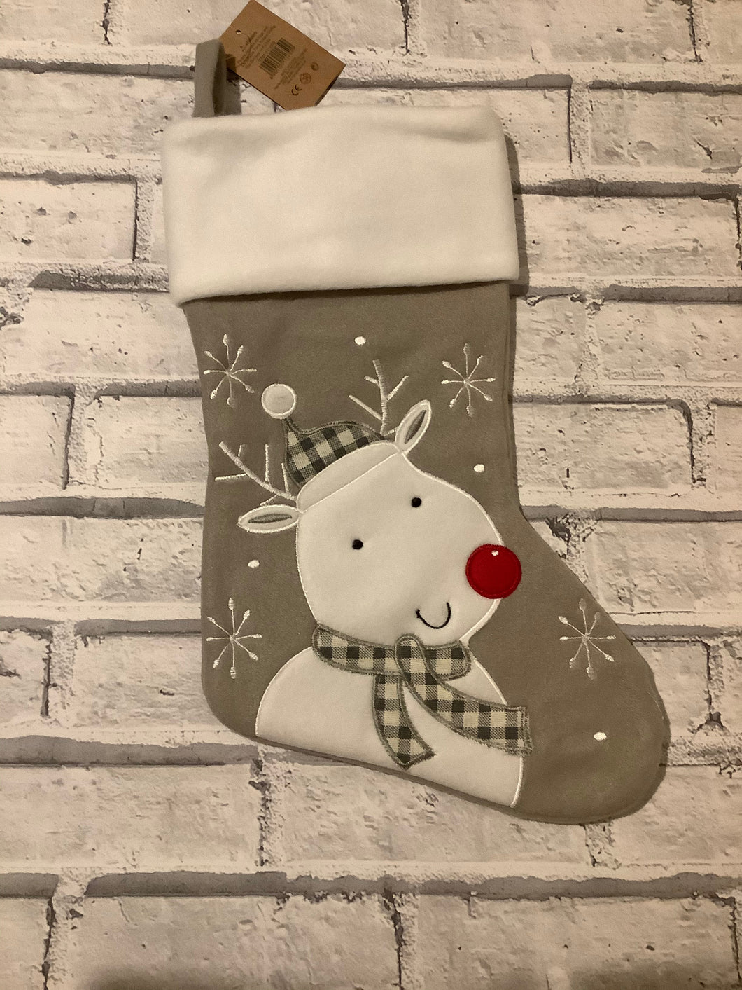 Rudolf The Reindeer Plush Christmas Stocking