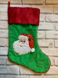 Christmas Santa Satin Green and Red Stocking
